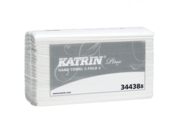 Käsipyyhe Katrin Plus 2, C-fold, 24 pkt/sk, valkoinen 1